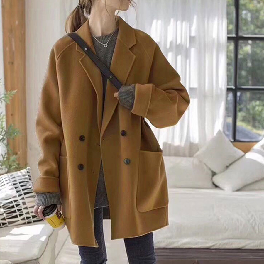 韓版直筒毛呢西裝領大衣外套