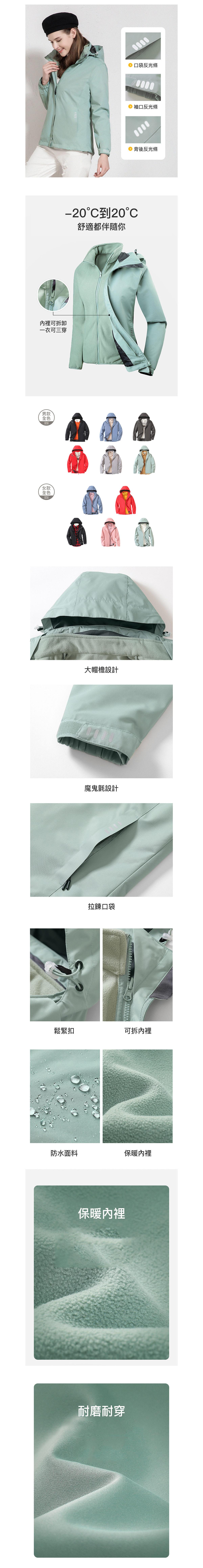 防水保暖耐汙.可三穿搖粒絨內裡機能外套.情侶款