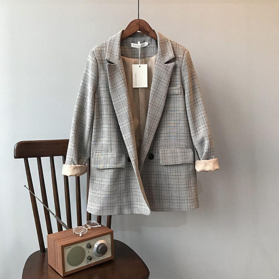 氣質翻領格紋西裝外套,,,K2070009,氣質翻領格紋西裝外套,