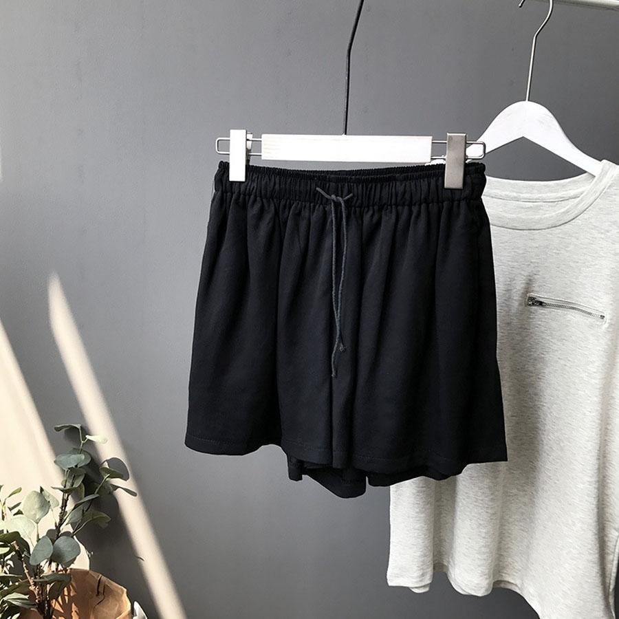 舒適感銅氨絲.鬆緊寬松休閑短褲,,,K3010010,舒適感銅氨絲.鬆緊寬松休閑短褲,