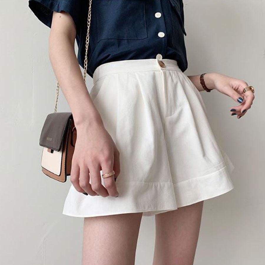 超顯瘦棉麻高腰鬆緊寬短褲.S~5XL