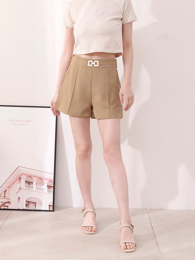 造型腰扣質感雪紡短褲