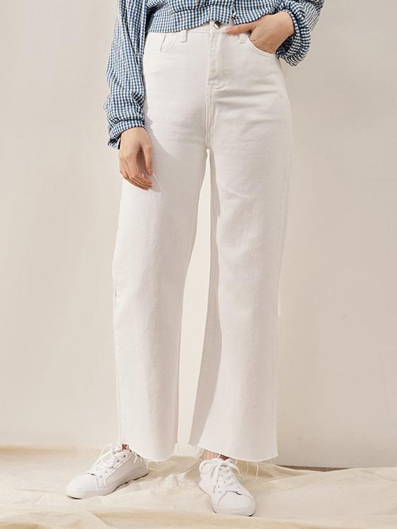 立體挺版黑白牛仔寬褲,,,K3020008,立體挺版黑白牛仔寬褲,