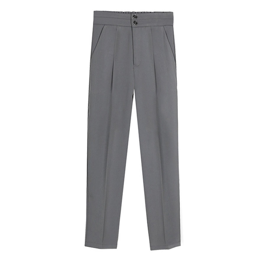 雙扣顯瘦鬆緊直筒西裝褲,,,K3020056,雙扣顯瘦鬆緊直筒西裝褲,