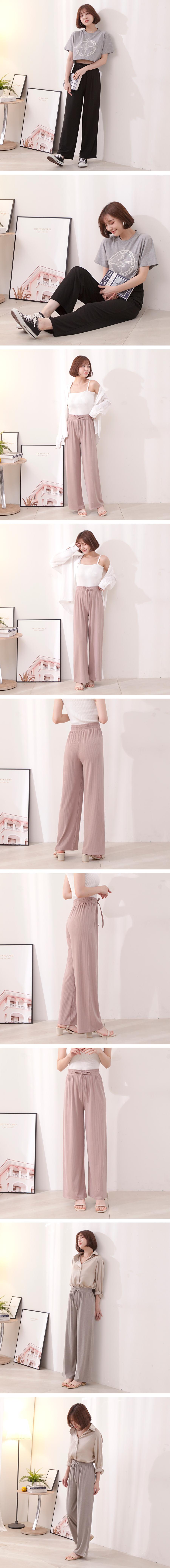 坑條素面舒適長寬褲