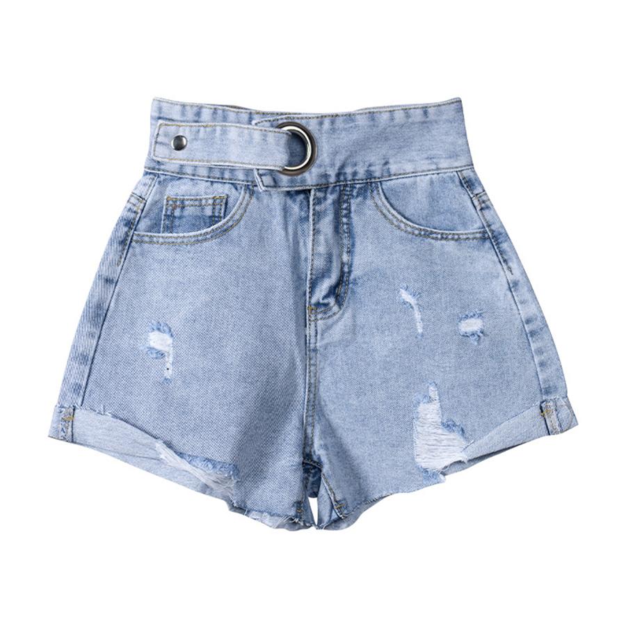 一體腰帶高腰刷破牛仔短褲.S~XL,,,K3030010,一體腰帶高腰刷破牛仔短褲.S~XL,