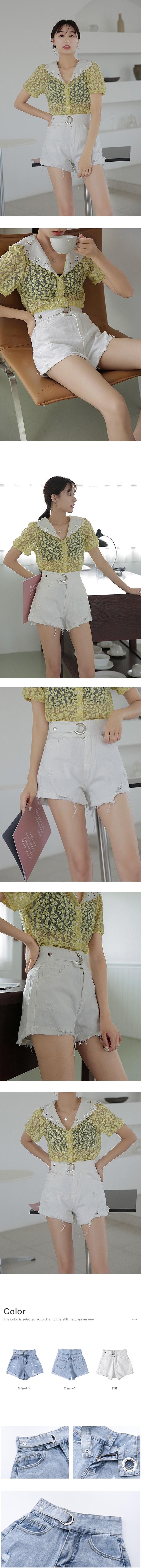 一體腰帶高腰刷破牛仔短褲.S~XL