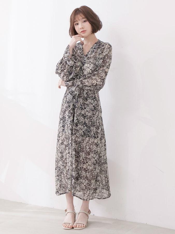 V領潑墨顯瘦雪紡長裙