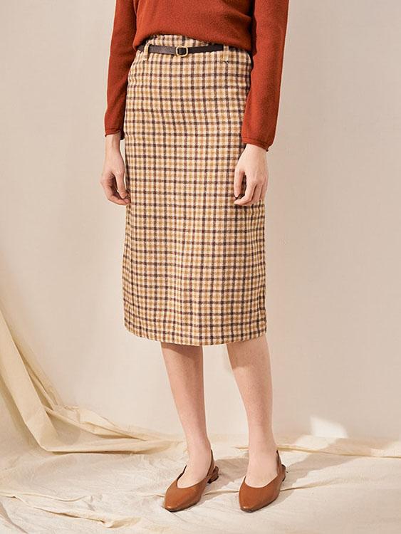 赫本小方格後開岔窄裙,,,K3060011,赫本小方格後開岔窄裙,