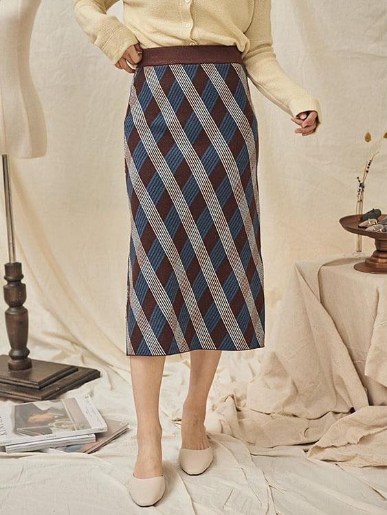復古菱格彈性針織包裙,,,K3060018,復古菱格彈性針織包裙,