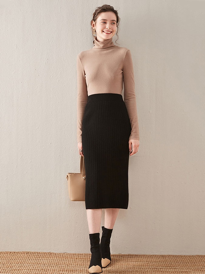 鬆緊後開衩坑條針織中長裙,,,K3060110,鬆緊後開衩坑條針織中長裙,