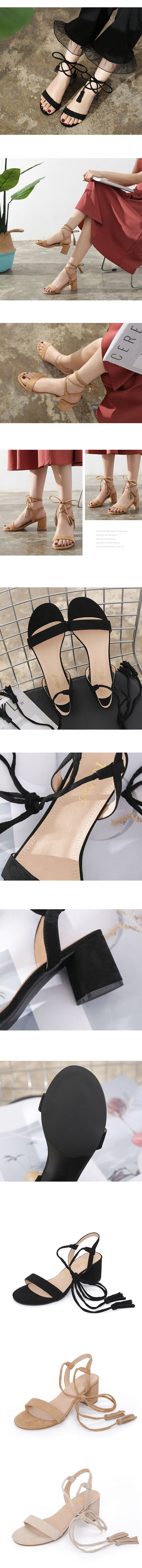 優雅繞帶粗跟涼鞋.3色