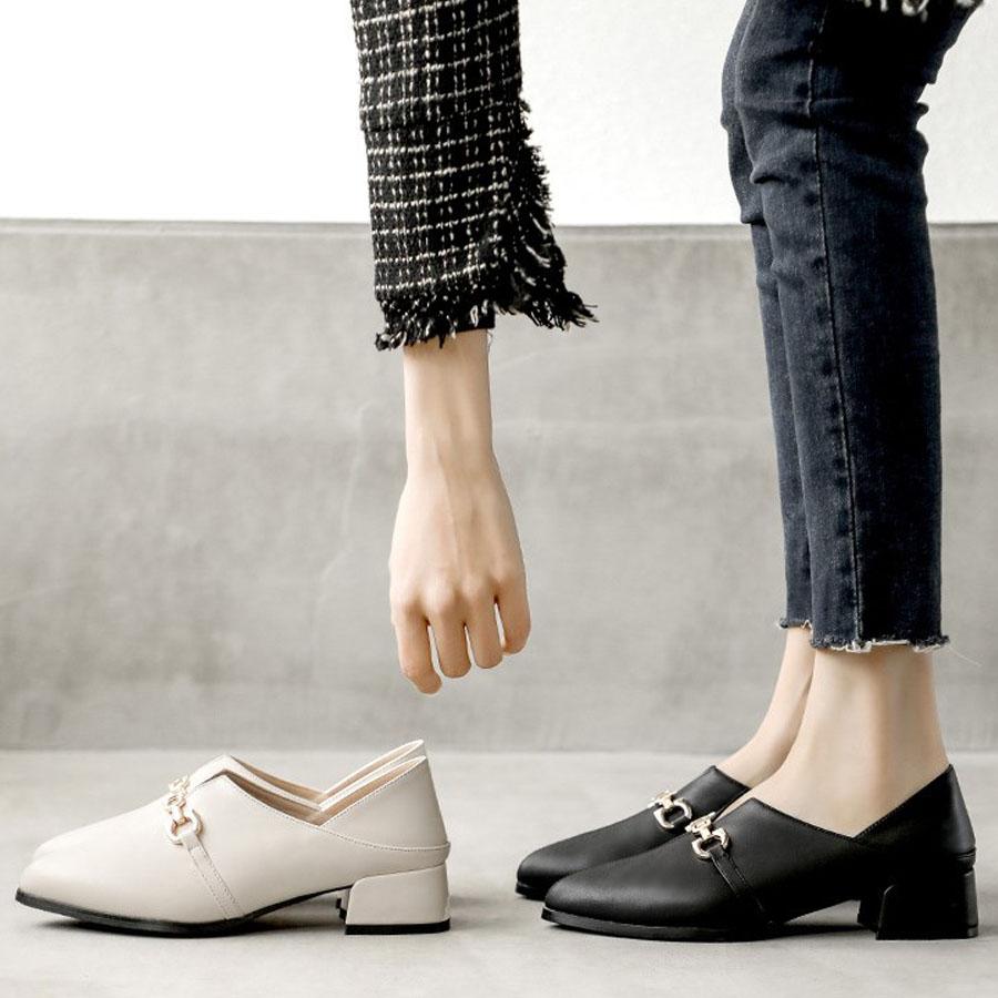 通勤女孩2way尖頭低跟皮鞋.2色