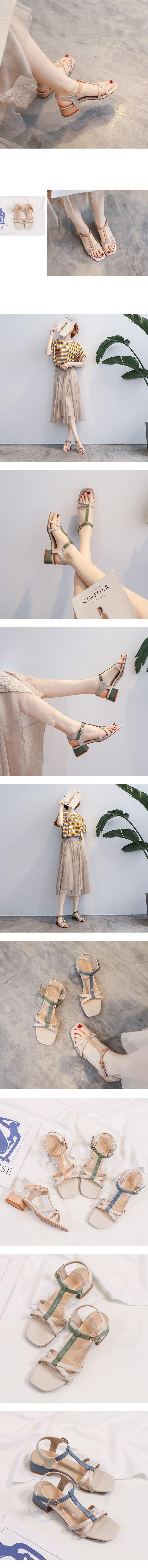 交叉拚色細帶中跟涼鞋.3色