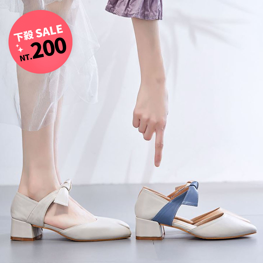 甜美撞色蝴蝶尖頭穆勒鞋.3色