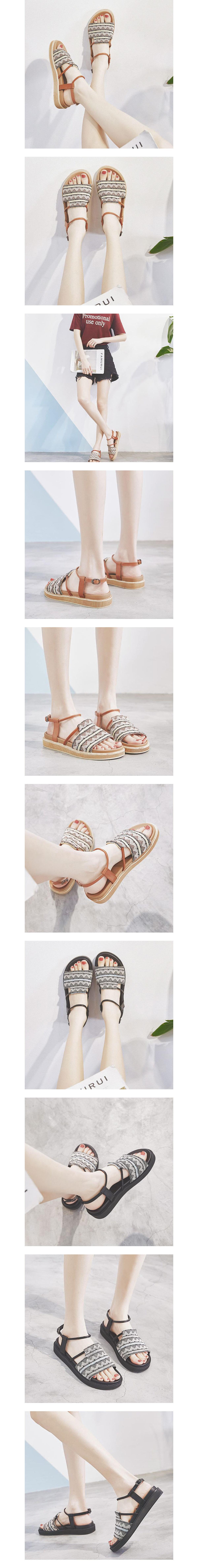 民族風圖騰寬版厚底涼鞋.2色