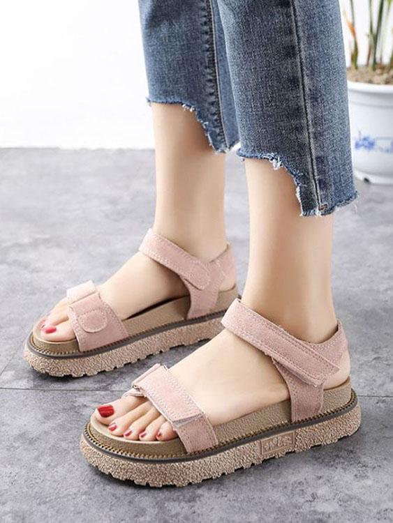 簡約寬帶魔鬼氈厚底涼鞋.有大碼.3色,,,K6010024,簡約寬帶魔鬼氈厚底涼鞋.有大碼.3色,