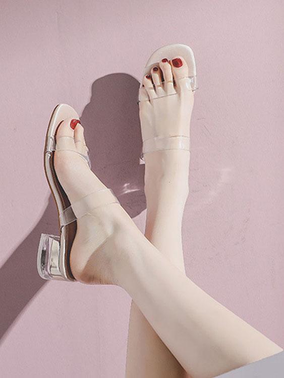 韓版透明一字方頭粗跟鞋.2色,,,K6010028,韓版透明一字方頭粗跟鞋.2色,