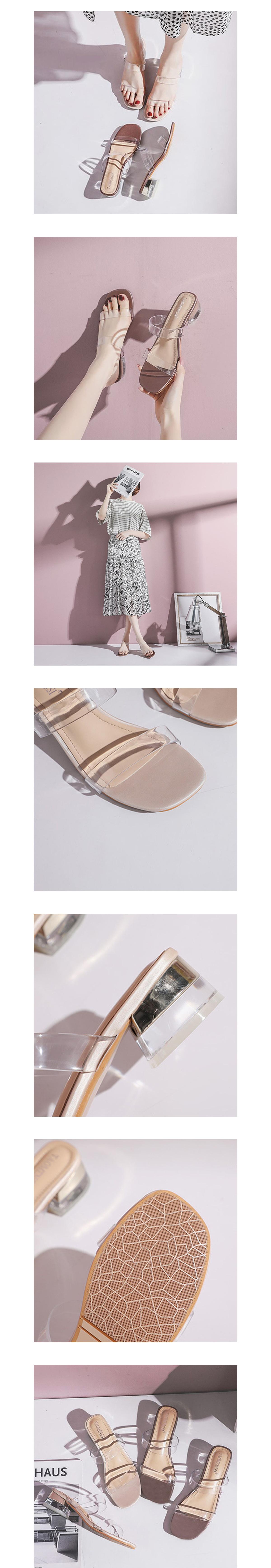 韓版透明一字方頭粗跟鞋.2色