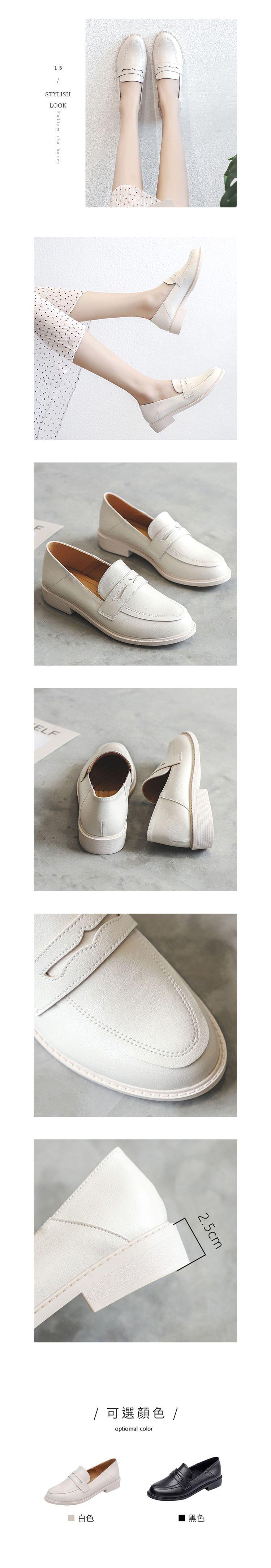極簡素面可後踩低跟樂福鞋.2色