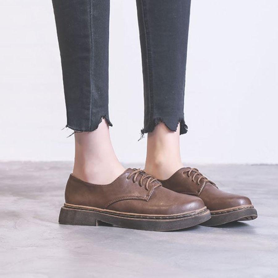 仿舊鞋底英倫綁帶牛津鞋.35~39