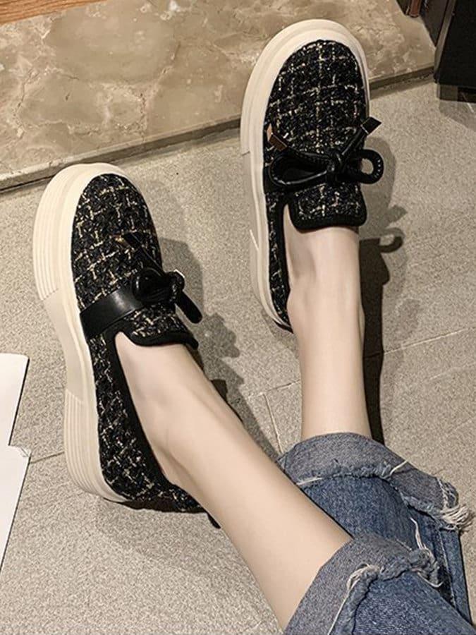 小香混織蝴蝶結厚底懶人鞋
