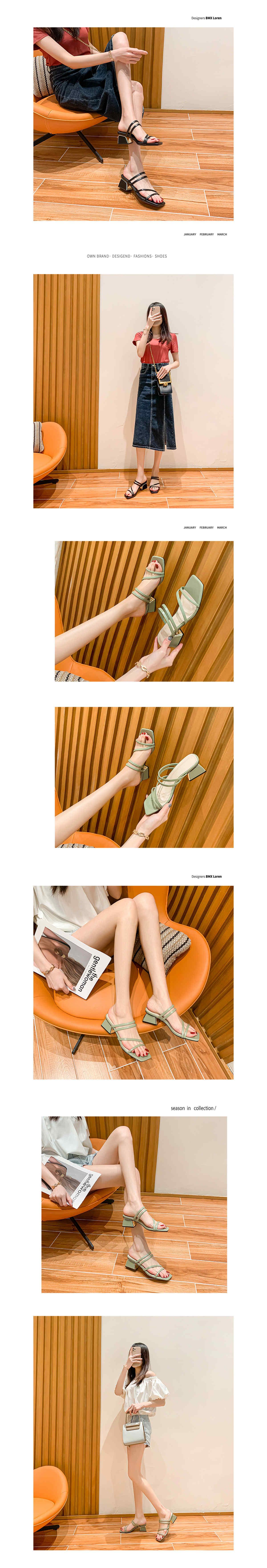 春夏顯瘦線條方頭粗跟涼拖鞋6cm