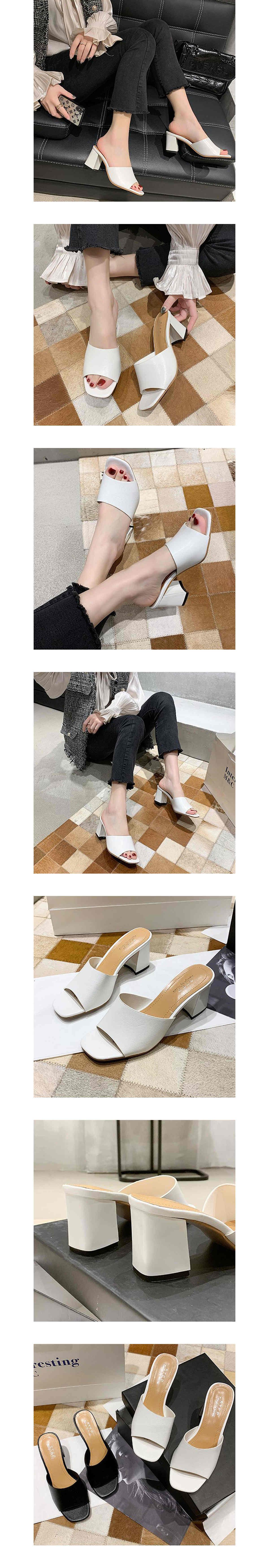 一字寬版舒適高跟拖鞋7cm