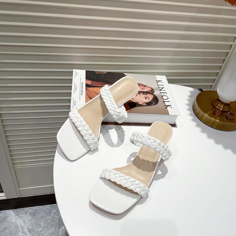 雙帶一字編織高跟拖鞋,,,K6010055,雙帶一字編織高跟拖鞋,