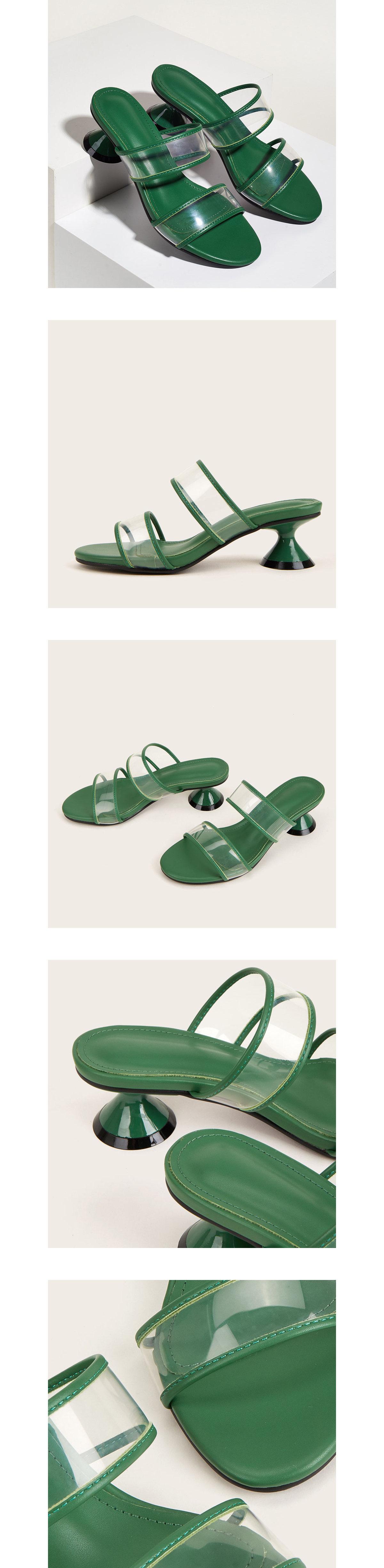 雙包邊透明低跟涼拖鞋4.5cm