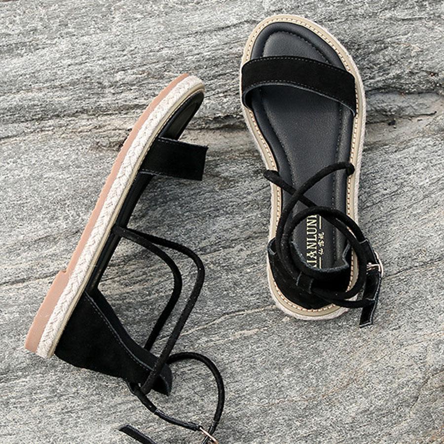 羅馬真皮一字綁帶平底鞋,,,K6020025,羅馬真皮一字綁帶平底鞋,