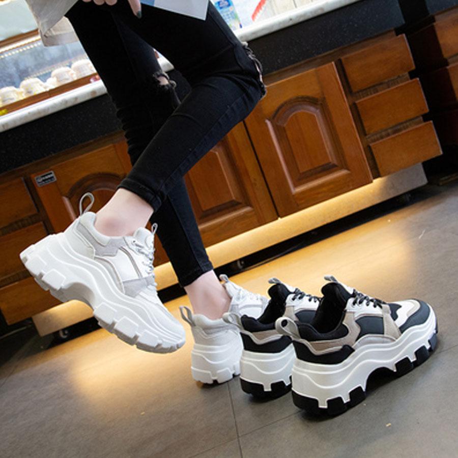 網紗系帶7CM厚底圓頭休閒運動鞋.2色