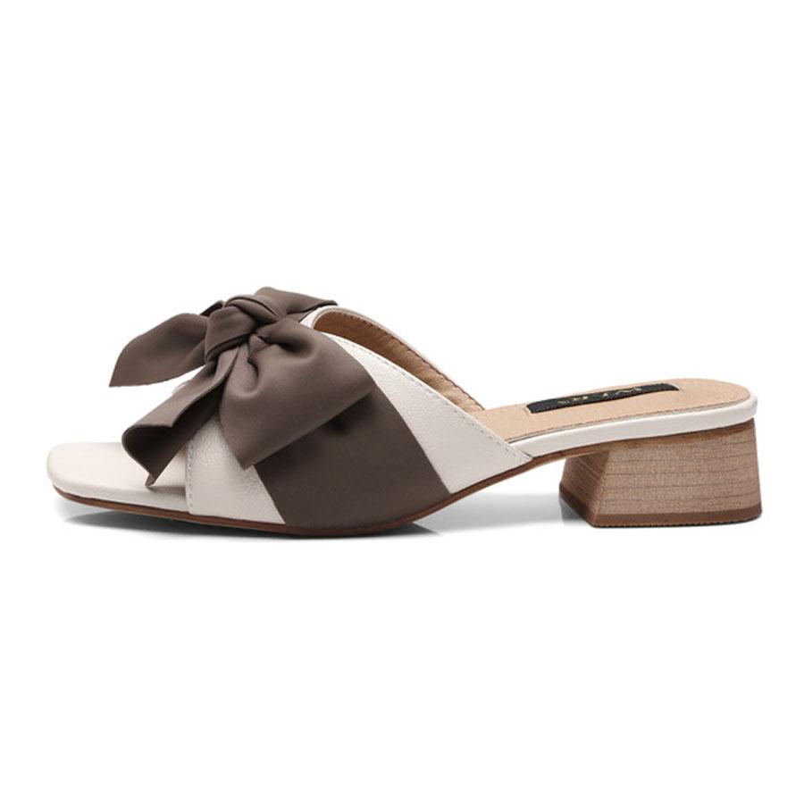 蝴蝶結拚色低跟拖鞋.有大碼.2色,,,K6020051,蝴蝶結拚色低跟拖鞋.有大碼.2色,