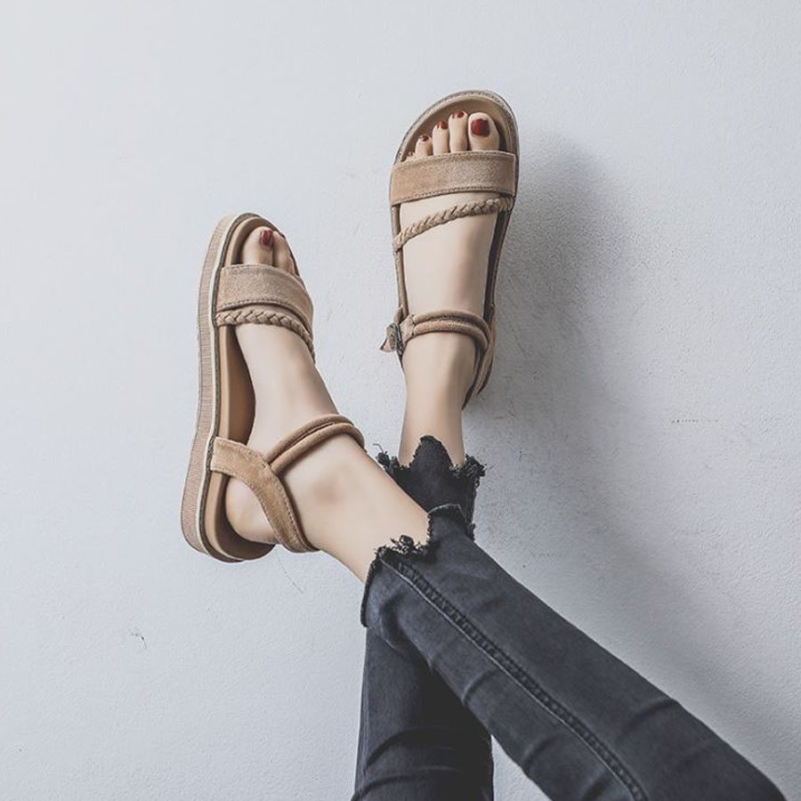 一字扣好穿軟厚底涼鞋.2色,,,K6020055,一字扣好穿軟厚底涼鞋.2色,
