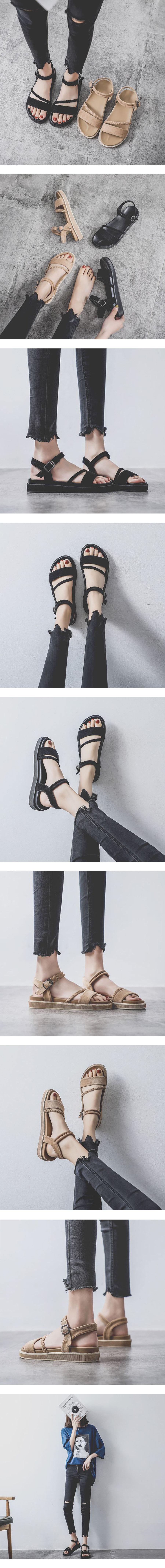 一字扣好穿軟厚底涼鞋.2色