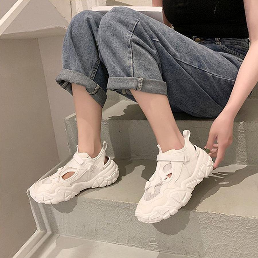 透氣鏤空魔鬼氈厚底運動鞋.2色