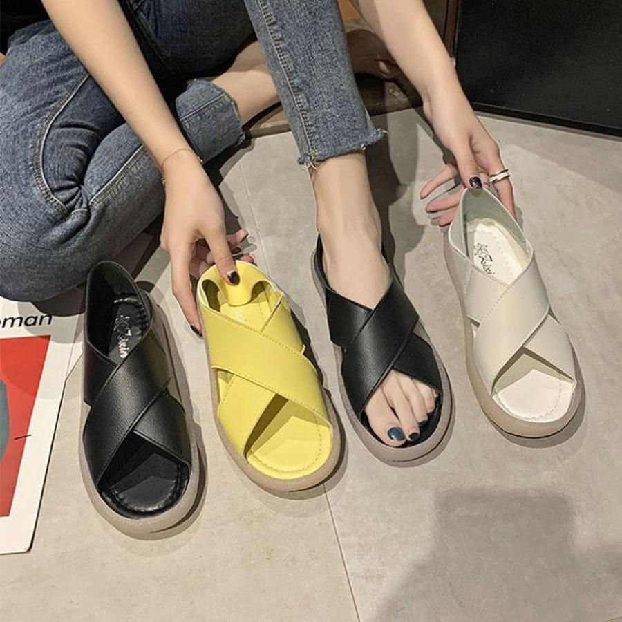 交叉寬帶魚口平底2way涼拖鞋.3色
