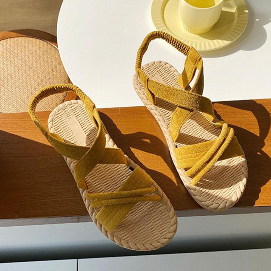 交叉綁帶絨面羅馬涼鞋.3色,,,K6020092,交叉綁帶絨面羅馬涼鞋.3色,