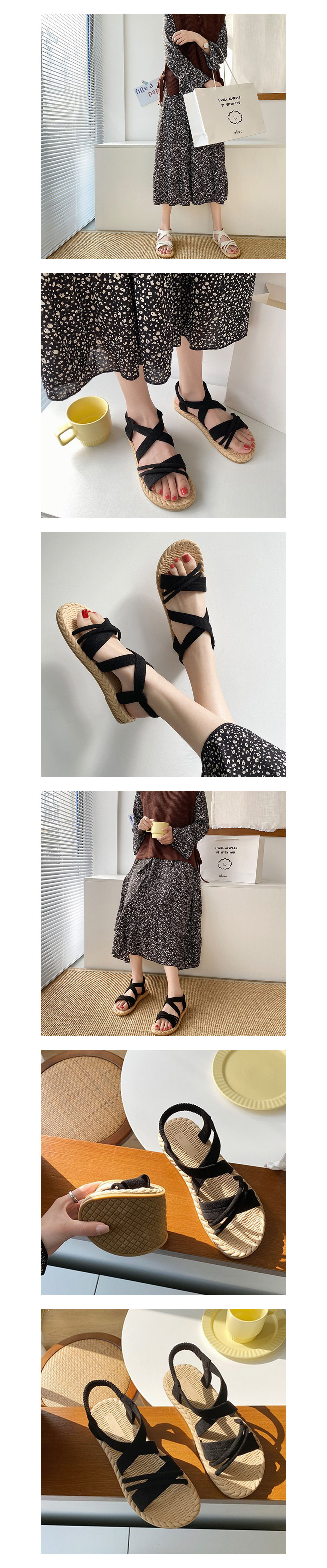 交叉綁帶絨面羅馬涼鞋.3色