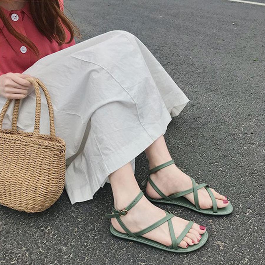 簡約细带交叉平底凉鞋.3色,,,K6020094,簡約细带交叉平底凉鞋.3色,