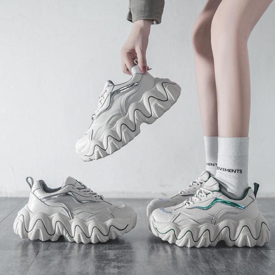 6cm厚底波浪時尚老爹鞋.35-40