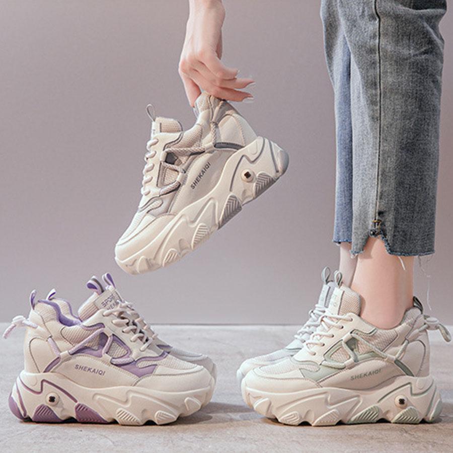 人氣厚底內增高7.5公分撞色運動鞋.3色