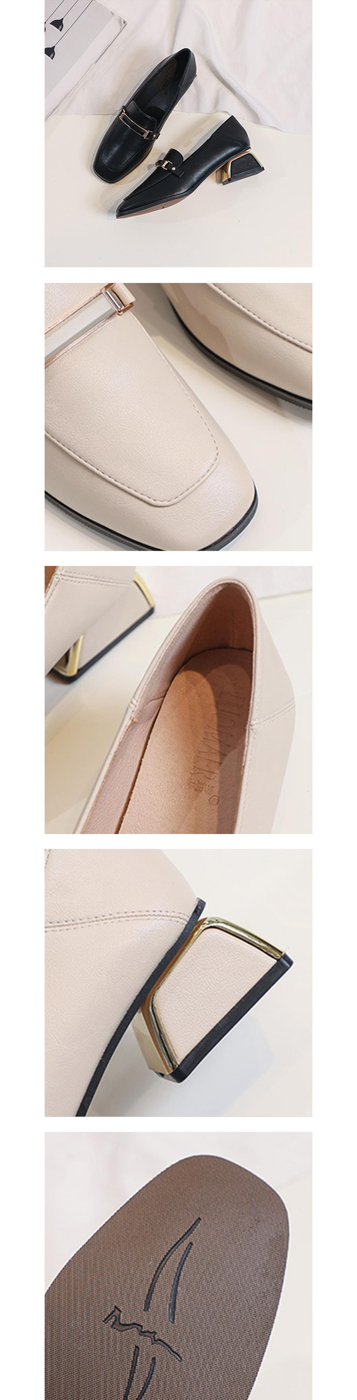 英倫粗跟方頭通勤皮鞋.2色
