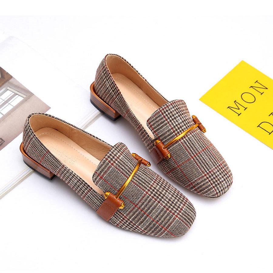 日系學院風.方頭格子福樂鞋,,,K6020118,日系學院風.方頭格子福樂鞋,