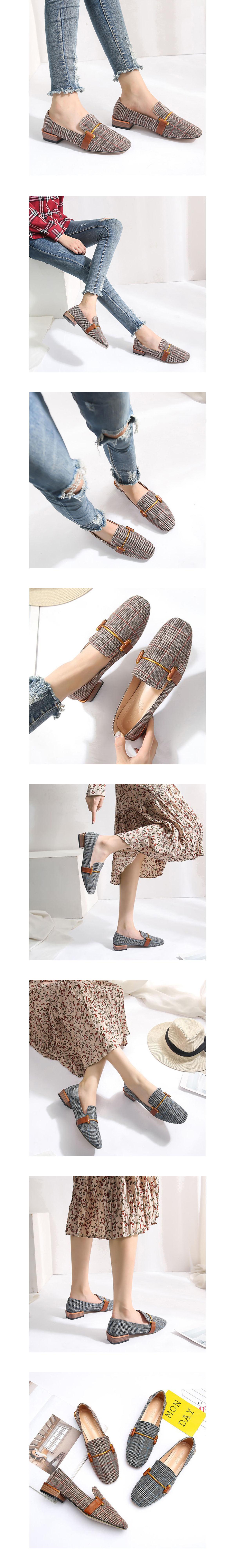 日系學院風.方頭格子福樂鞋