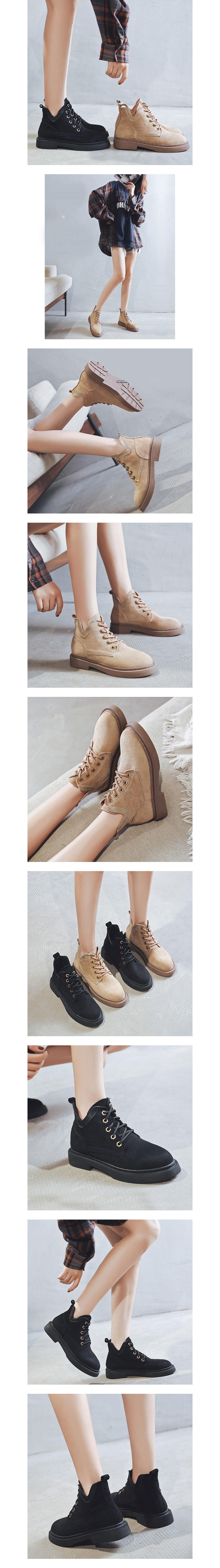 絨面系帶低筒靴.有大碼.35~43