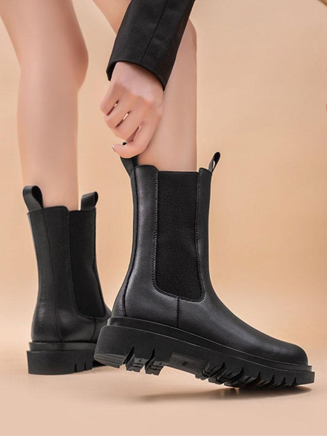 率性厚底切爾西中長靴.黑色,,,K6030011,率性厚底切爾西中長靴.黑色,