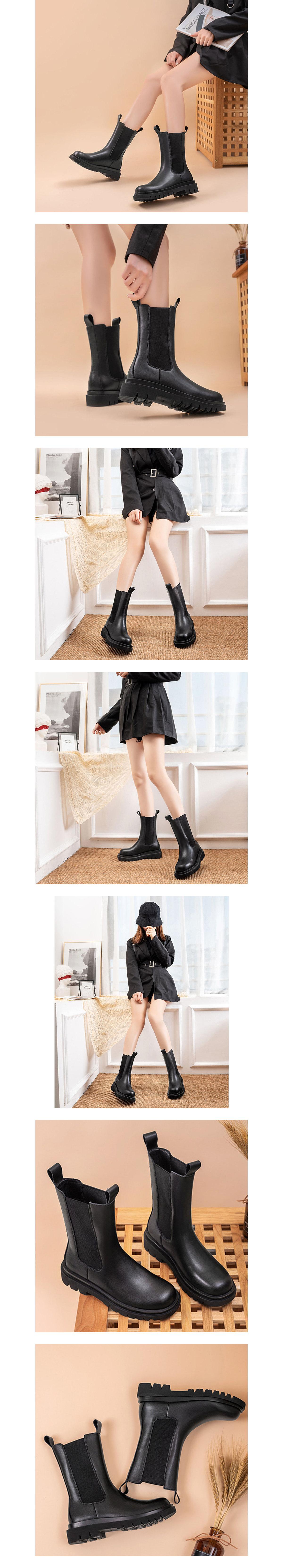 率性厚底切爾西中長靴.黑色