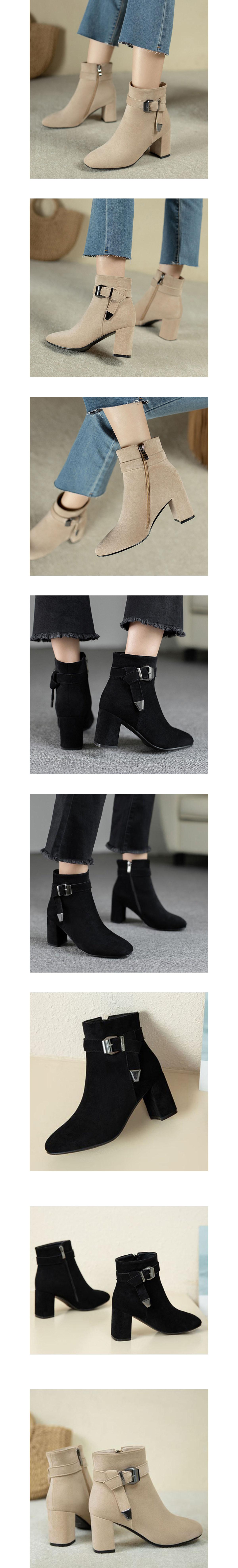時髦釦環.側拉鍊顯瘦中筒跟靴