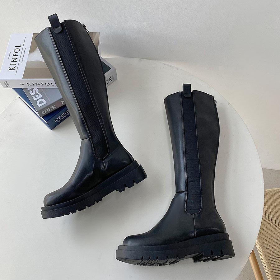 拼接厚底高筒騎士長靴,,,K6030030,拼接厚底高筒騎士長靴,